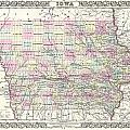1855 Colton Map Of Iowa by Paul Fearn