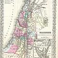1855 Colton Map Of Israel Palestine Or The Holy Land by Paul Fearn