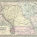 1855 Colton Map Of Kansas And Nebraska  by Paul Fearn