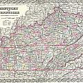 1855 Colton Map Of Kentucky And Tennessee by Paul Fearn