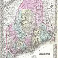 1855 Colton Map Of Maine by Paul Fearn