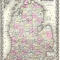 1855 Colton Map Of Michigan by Paul Fearn