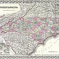 1855 Colton Map Of North Carolina by Paul Fearn