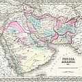 1855 Colton Map Of Persia Afghanistan And Arabia by Paul Fearn