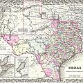 1855 Colton Map Of Texas by Paul Fearn