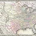 1855 Colton Map Of The United States  by Paul Fearn