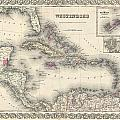 1855 Colton Map Of The West Indies by Paul Fearn