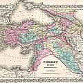1855 Colton Map Of Turkey Iraq And Syria by Paul Fearn