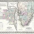 1855 Colton Plan Or Map Of Charleston South Carolina And Savannah Georgia by Paul Fearn