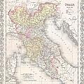 1856 Desilver Map Of Northern Italy by Paul Fearn