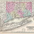 1857 Colton Map Of Connecticut And Long Island by Paul Fearn