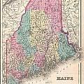 1857 Colton Map Of Maine by Paul Fearn
