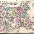 1857 Colton Map Of Massachusetts And Rhode Island by Paul Fearn