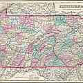 1857 Colton Map Of Pennsylvania by Paul Fearn