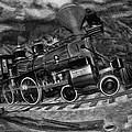 1862 Gov. Stanford First Locomotive Black And White by Blake Richards