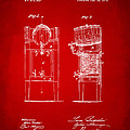 1876 Beer Keg Cooler Patent Artwork Red by Nikki Marie Smith
