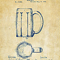 1876 Beer Mug Patent Artwork - Vintage by Nikki Marie Smith