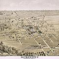 1876 Birds Eye Map Of Mckinney Texas by Stephen Stookey