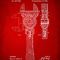 1878 Adjustable Wrench Patent Artwork - Red by Nikki Marie Smith