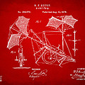 1879 Quinby Aerial Ship Patent - Red by Nikki Marie Smith