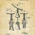 1883 Wine Corckscrew Patent Art - Vintage Black by Nikki Marie Smith