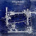 1885 Sewing Machine Patent Drawing Blue by Jon Neidert