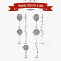 1886 Tennis Racket Patent Drawing - Retro Red by Aged Pixel