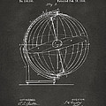 1886 Terrestro Sidereal Globe Patent 2 Artwork - Gray by Nikki Marie Smith