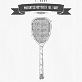 1887 Tennis Racket Patent Drawing - Retro Gray by Aged Pixel