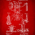 1890 Bottling Machine Patent Artwork Red by Nikki Marie Smith