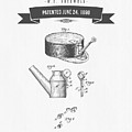 1890 Miners Lamp Holder Patent Drawing - Retro Gray by Aged Pixel