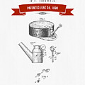 1890 Miners Lamp Holder Patent Drawing - Retro Red by Aged Pixel