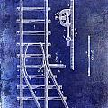1890 Railway Switch Patent Drawing Blue by Jon Neidert
