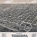 Vintage Perspective Map Of Texarkana by Stephen Stookey