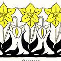 1897 Jugend Print Art Nouveau Motifs Flowers Narcissus Daffodil  by Fritz Erler