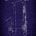1899 Paul Evette Saxophone Patent - Blue by Barry Jones