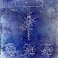 1900 Corkscrew Patent Drawing Blue by Jon Neidert