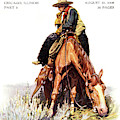 1900s Sunday Magazine Cover Lone Cowboy by Vintage Images