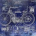 1901 Motorcycle Patent Drawing Blue by Jon Neidert