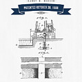 1906 Well Drilling Apparatus Patent Drawing - Retro Navy Blue by Aged Pixel