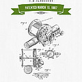 1907 Fishing Reel Patent Drawing - Green by Aged Pixel