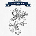 1907 Fishing Reel Patent Drawing - Navy Blue by Aged Pixel