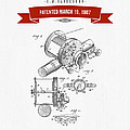 1907 Fishing Reel Patent Drawing - Red by Aged Pixel
