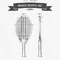 1907 Tennis Racket Patent Drawing - Retro Gray by Aged Pixel