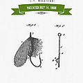 1908 Fish Hook Patent Drawing - Retro Geen by Aged Pixel