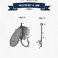 1908 Fish Hook Patent Drawing - Retro Navy Blue by Aged Pixel