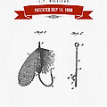1908 Fish Hook Patent Drawing - Retro Red by Aged Pixel