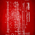 1908 Flute Patent - Red by Nikki Marie Smith