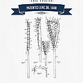 1908 Lacrosse Stick Patent Drawing - Retro Navy Blue by Aged Pixel