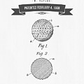 1908 Taylor Golf Ball Patent Drawing - Retro Gray by Aged Pixel